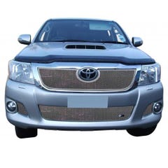 Front Upper Lower & Side Grille Set Silver Toyota Hilux Mk8 (4 Pcs.)