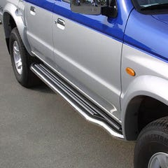 Pair of Side Steps with Bars 50mm SS Mach for Mazda B2500 Mk3 Double Cab (99-03)