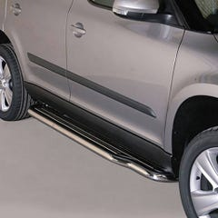 Pair of Side Steps with Bars 50mm SS Mach for Skoda Yeti (10 on)