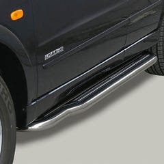 Pair of Side Steps with Bars 50mm SS Mach for SsangYong Musso Mk2 (99 on)