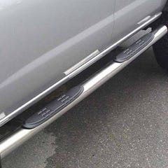 Pair of Side Bars with Steps 76mm Stainless Mach for Mazda Tribute (01 on)