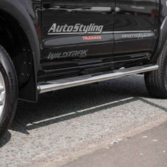 Pair of Oval Tube Side Bars with Steps 76mm SS Mach for Ford Ranger Mk5