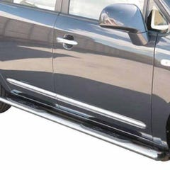 Pair of Oval Tube Side Bars with Steps 76mm SS Mach for Kia Carens (03-06)
