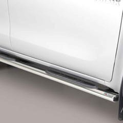 Pair of Oval Tube Side Bars with Steps 76mm SS Mach for Hilux Mk8 (16 on) EC