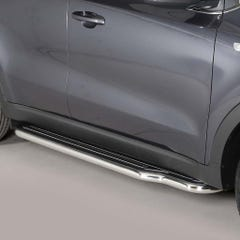 Pair of Side Steps with Bars 50mm SS Mach for Kia Sportage Mk6 (16 on)