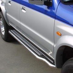 Pair of Stainless Steel 50mm Running Board Side Steps Mazda B2500 Mk4 (2003 - 2006)