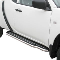 Pair of Stainless Steel 50mm Running Board Side Steps Mitsubishi L200 Mk7 (2010 Onwards)
