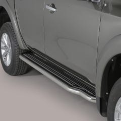 Pair of Side Steps with Bars 50mm SS Mach for Mitsubishi L200 (15 on) Mk8-9