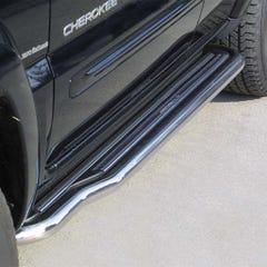 Pair of Stainless Steel 50mm Running Board Side Steps Jeep Cherokee Mk3/4 (2001 - 2005)
