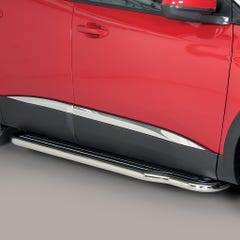 Pair of Side Steps with Bars 50mm SS Black Mach for Peugeot 3008 (16 on)