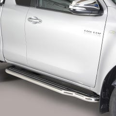 Pair of Stainless Steel 50mm Running Board Side Steps Toyota Hilux Mk8-9 (2016 - 2020) Extra Cab