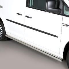 Pair of Stainless Steel 76mm Side Bars Volkswagen Caddy Mk4 (2015 Onwards)