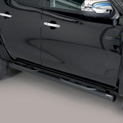 Pair of Black 76mm Side Bars with Steps Mitsubishi L200 Mk8-9 (2015 Onwards) Double Cab