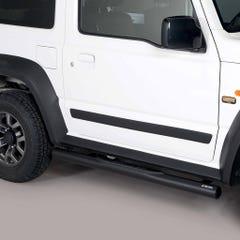 Pair of Black 76mm Side Bars with Steps Suzuki Jimny Mk5 (2019 Onwards)