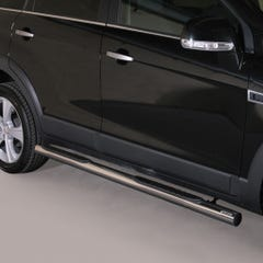 Pair of Side Bars with Steps 76mm Stainless Mach for Chevrolet Captiva (2011-13)