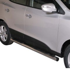 Pair of Stainless Steel 76mm Side Bars with Steps Hyundai IX35 Mk1 (2010 Onwards)