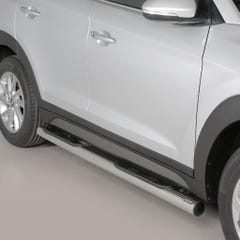 Pair of Side Bars with Steps 76mm Stainless Mach for Hyundai Tucson Mk2 (15 on)