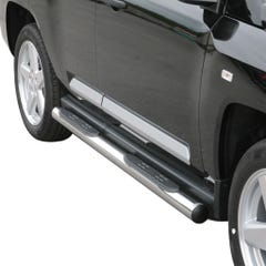Pair of Side Bars with Step 76mm Stainless Mach for Jeep Compass (07 on)