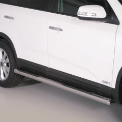 Pair of Stainless Steel 76mm Side Bars with Steps Kia Sorento Mk4 (2012 Onwards)