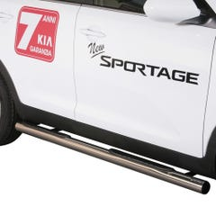 Pair of Side Bars with Steps 76mm Stainless Mach for Kia Sportage Mk5 (10 on)