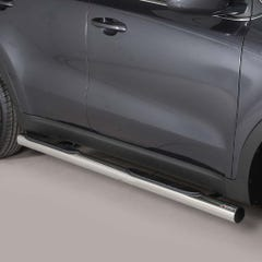 Pair of Side Bars with Steps 76mm Stainless Mach for Kia Sportage Mk6 (16 on)