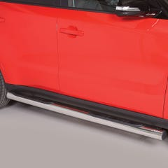 Pair of Stainless Steel 76mm Side Bars with Steps Kia Soul Mk1 (2014 Onwards)