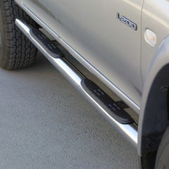 Side Bars with Steps 76mm Stainless Mach for Mitsubishi L200 Mk4-5 (97-06)