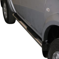 Pair of Stainless Steel 76mm Side Bars with Steps Mitsubishi L200 Mk7 Long Bed (2010 Onwards)