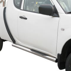 Pair of Side Bars with Step 76mm Stainless Mach for Mitsubishi L200 Mk7 (10 on)