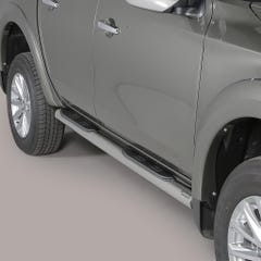 Side Bars with Step 76mm Stainless Mach for Mitsubishi L200 Mk8-9 (15 on) DC
