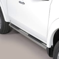 Pair of Stainless Steel 76mm Side Bars with Steps Mitsubishi L200 Mk8-9 (2015 Onwards) Extra Cab
