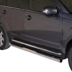 Pair of Side Bars with Step 76mm Stainless Mach for Mitsubishi Outlander (10-12)