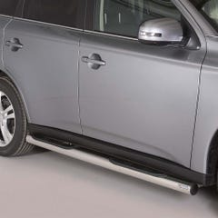 Pair of Side Bars with Step 76mm Stainless Mach for Mitsubishi Outlander (12 on)