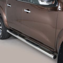 Pair of Stainless Steel 76mm Side Bars with Steps Nissan D40/Navara (2016 Onwards) Double Cab