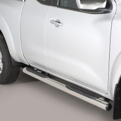 Pair of Side Bars with Steps 76mm SS Mach for Nissan Navara NP300 (16 on) EC
