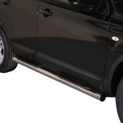 Pair of Stainless Steel 76mm Side Bars with Steps Nissan Qashqai Mk2 (2010 - 2014)