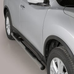 Pair of Stainless Steel 76mm Side Bars with Steps Nissan X Trail Mk5 (2015 Onwards)
