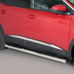Pair of Side Bars 76mm Stainless Mach for Peugeot 3008 (16 on)