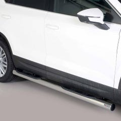 Pair of Stainless Steel 76mm Side Bars with Steps Seat Ateca (2016 Onwards)