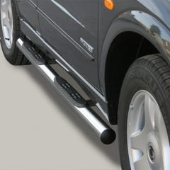 Pair of Side Bars with Steps 76mm Stainless Mach for SsangYong Kyron (06 on)