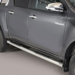 Pair of Stainless Steel 76mm Side Bars with Steps Toyota Hilux Mk8-9 (2016 Onwards) Double Cab