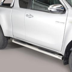 Pair of Stainless Steel 76mm Side Bars Toyota Hilux Mk8-9 (2016 Onwards) Extra Cab