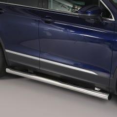 Pair of Stainless Steel 76mm Side Bars with Steps Volkswagen Tiguan Mk3 (2016 Onwards)