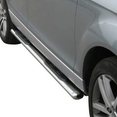 Pair of Oval Stainless Steel 76mm Side Bars with Steps Audi Q7 (2006 Onwards)