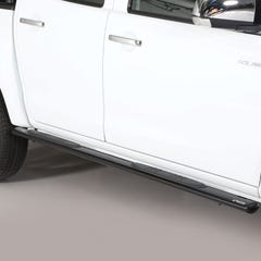 Pair of Oval Black 76mm Side Bars with Steps Isuzu D-Max Mk4-5 (2012 - 2020)