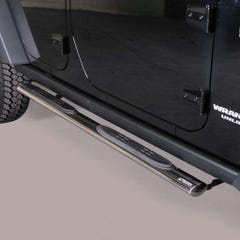 Pair of Oval Tube Side Bars with Steps 76mm SS Mach for Jeep Wrangler (2006 on)