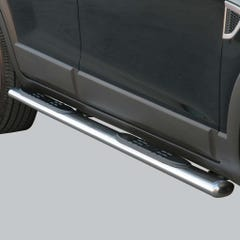 Pair of Oval Tube Side Bars with Steps 76mm SS Mach for Chevrolet Captiva(07 on)