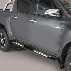 Pair of Oval Black 76mm Side Bars with Design Steps Toyota Hilux Mk8-9 (2016 Onwards) Double Cab