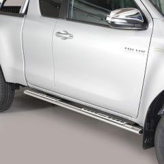 Oval Tube Side Bars with Design Steps Black Mach for Hilux Mk8 (16 on) EC