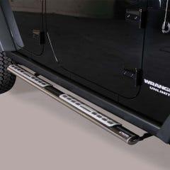 Pair of Oval Black 76mm Side Bars with Design Steps Jeep Wrangler (2011 Onwards)